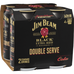 Photo of Jim Beam Black & Cola Double Serve 6.9% 4x375ml