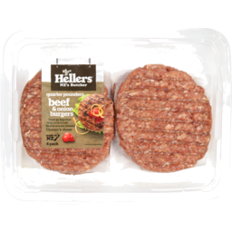 Photo of Hellers Qp Beef & Onion Burger 4 Pack