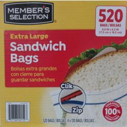 Photo of Ms Ext Lrg Sandwich Bags 4x130