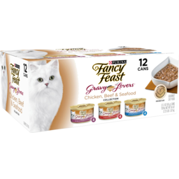 Photo of Purina Fancy Feast Gravy Lovers Chicken Beef & Seafood Cat Food 12 Pack 1.02kg