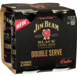 Photo of Jim Beam Black Double Serve & Cola Cans