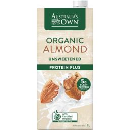 Photo of Australias Own Organic Almond Unsweetened Protein Plus Long Life Milk 1l