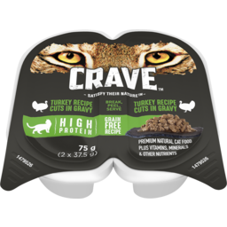 Photo of Crave Wet Cat Food Turkey Cuts In Gravy Tray 75g