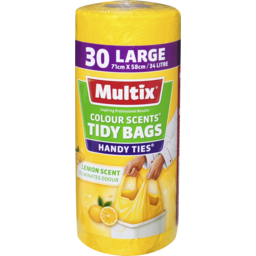 Photo of Multix Colour Scents Handy Ties Tidy Bags Large 30 Pack | Lemon Scent