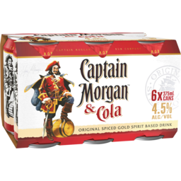 Photo of Capt Morgan &Cola 4.5% 6*375ml