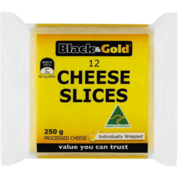 Photo of Black & Gold Cheese Slices Processed 12pk