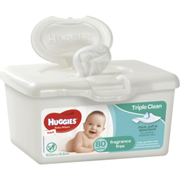 Photo of Huggies Baby Wipes, Fragrance Free, Refillable Tub, 80 Wipes