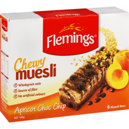 Photo of Flemings Chewy Muesli Bar Apricot & Chocolate 6 Pack