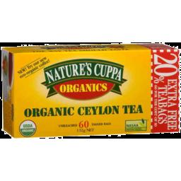 Photo of Natures Cuppa Organic Ceylon Tea 60pk 20% Extra Free