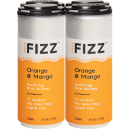 Photo of Hard Fizz Orange & Mango Seltzer Cans - 4 X 330ml