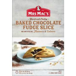Photo of Mrs Macs Shortcrust Pastry Baked Chocolate Fudge Slice 2 Pack 240g