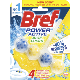 Photo of Bref Power Active Juicy Lemon, Rim Block Toilet Cleaner, 50g