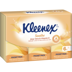 Photo of Kleenex Aloe Vera & Vitamin E Pocket Pack Facial Tissues, 6 Pack X 9 Sheets