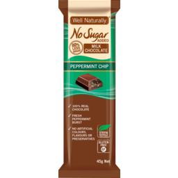 Photo of Well Naturally Nsa Milk Chocolate Peppermint Chip 45g
