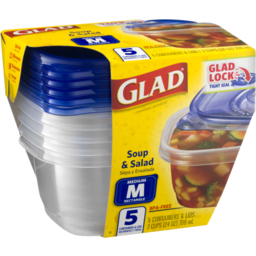 Photo of Glad Soup & Salad Containers & Lids - 5 Ct
