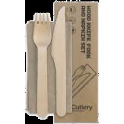 Photo of Bio Cutlery Wood Knife Fork & Napkin Set