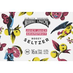 Photo of Brookvale Union Juicy Grapefruit Seltzer Can Ctn 16*330mL