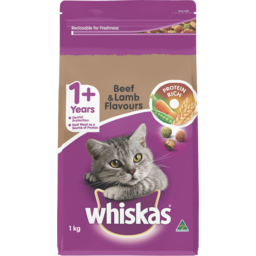 Photo of Whiskas 1+ Years Dry Cat Food Beef & Lamb 1kg
