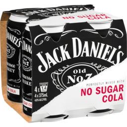 Photo of Jack Daniels & Zero Sugar Cola 375ml 4 Pack