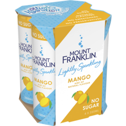 Photo of Mount Franklin Lightly Sparkling Water Mango Multipack Mini Cans 4x250ml
