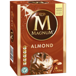 Photo of Magnum Ice Cream Dessert Sticks Almond Frozen 4 Pack 428ml