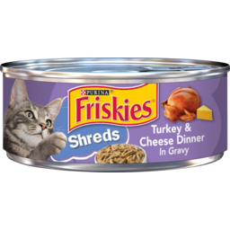 Photo of Friskies Cat Food Turkey & Cheese Dinner In Gravy Savory Shreds 159g