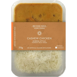 Photo of Beyond India Home Dining Korma Style Cashew Chicken & Rice 315g