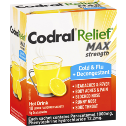 Photo of Codral Relief Max Cold & Flu + Decongestant Hot Drink Oral Powder 10x5gm