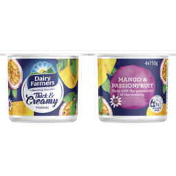 Photo of Dairy Farmers Thick & Creamy Yoghurt Mango & Passionfruit Multipack ( 4* 110 Gms)