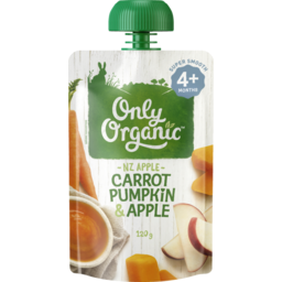 Photo of Only Organic Baby Food Pouch Carrot Pumpkin & Apple 4+ Month 120g