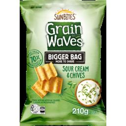 Photo of Sunbites Grainwaves Wholegrain Chips Sour Cream & Chives 210g
