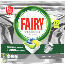 Photo of Fairy Platinum All In One Lemon Dishwasher Capsules 20 Pack