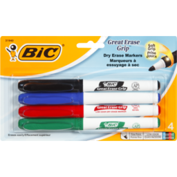 Photo of Bic Great Erase Grip Dry Erase Markers - 4 Ct
