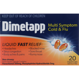 Photo of Dimetapp Multi Symptom Cold & Flu Liquid Caps 20 Pack
