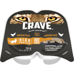 Photo of Crave Wet Cat Food Chicken Pate 75g (2x37.5g) Tray
