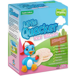 Photo of Little Quacker Organic Rice Biscuits Strawberry Flavour 40gm