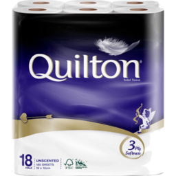 Photo of Quilton Toilet Paper 3 Ply Unscented White 18 Pack