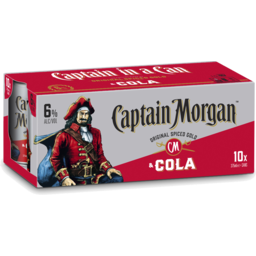 Photo of Captain Morgan & Cola 375ml 10 Pack