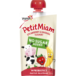 Photo of Yoplait Petit Miam No Added Sugar + Probiotics Strawberry & Banana Yoghurt Pouch 70g