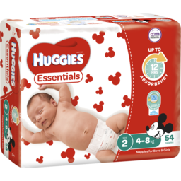 Photo of Huggies Essentials Nappies, Unisex, Size 2 Infant (4 - 8kg), 54 Nappies