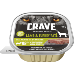 Photo of Crave Wet Dog Food Lamb & Turkey Pate Tray 100g