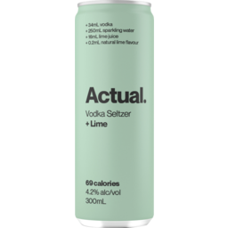Photo of Actual. Vodka Seltzer Lime 300ml Can
