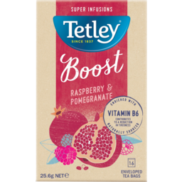 Photo of Tetley Raspberry & Pomegranate Super Infusions Boost Tea Bags 16 Pack 25.6g