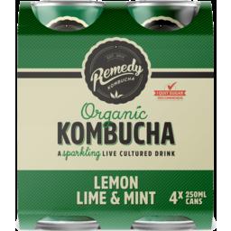 Photo of Remedy Multi Organic Kombucha Lemon Lime Mint 4x250ml