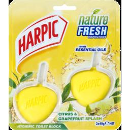 Photo of Harpic Nature Fresh Hygienic Toilet Block Cleaner Citrus & Grapefruit 2x40g