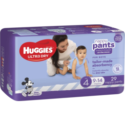 Photo of Huggies Ultra Dry Nappy Pants Boy Size 4 (9-14kg) 29 Pack