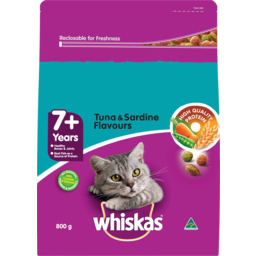 Photo of Whiskas 7+ Years Tuna & Sardine Flavours Dry Cat Food 800g