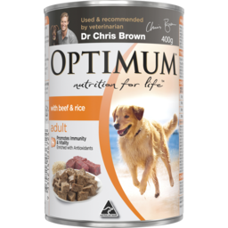 Photo of Optimum Adult With Beef & Rice Wet Dog Food Can 400g