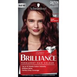 Photo of Schwarzkopf Brilliance Dark Red Violet 49 Permanent Hair Colour One Application