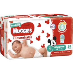 Photo of Huggies Essentials Newborn Nappies, Unisex, Size 1 Newborn (Up To 5kg), 28 Nappies